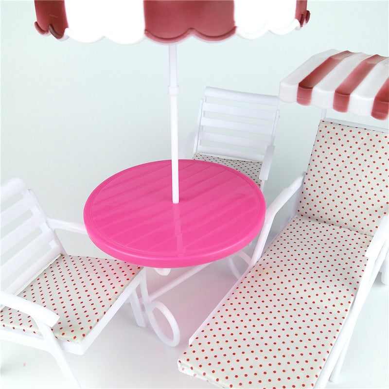 Garden Furniture Play set for Outdoor Beach Sunshade Umbrella Lounge Chair for Patio, Pool Doll Accessories - mbrbproducts