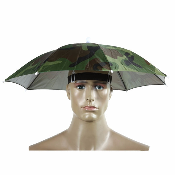 Portable Umbrella Hat Sun Shade Camping Fishing Hiking Golf Beach Headwear Outdoor Brolly Cap for Men Handsfree Umbrella Tackle - mbrbproducts