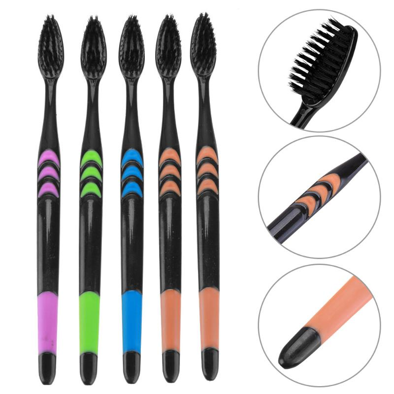 5/10PCS Double Ultra Soft Bamboo Charcoal Nano Toothbrush Black - mbrbproducts