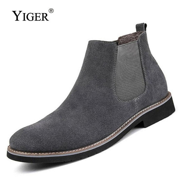 YIGER NEW Men Chelsea Boots Ankle Boots Fashion Men's Male Brand Leather Quality Slip Ons Motorcycle Man Warm Free shipping 0013 - mbrbproducts