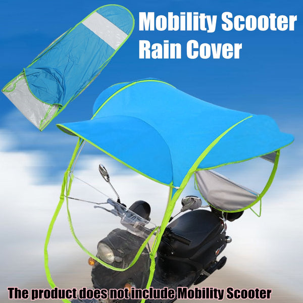 Blue Polyester Motorbike Scooter Sun Shade Rain Cover Electric Vehicle Umbrella Mobility Raincoat Poncho Dust Proof - mbrbproducts