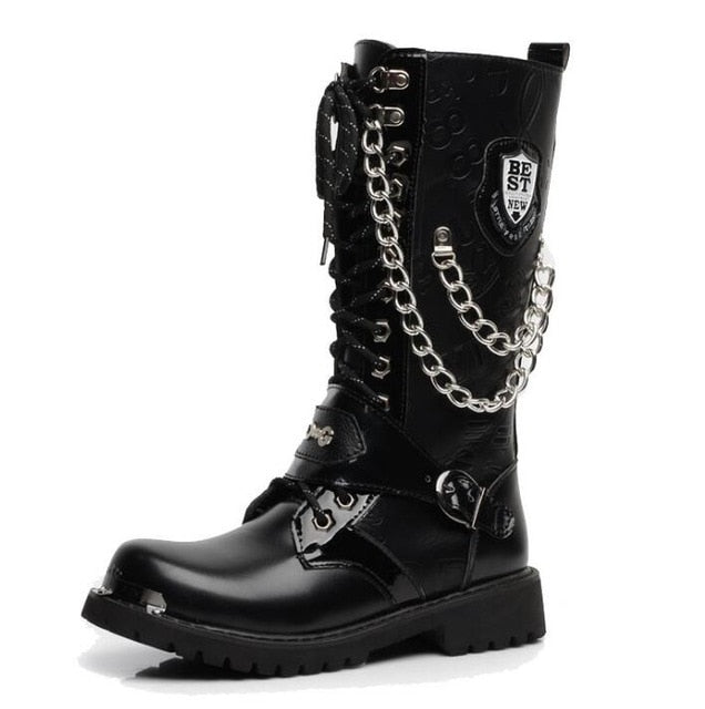 Men's Leather Motorcycle Boots Mid-calf Gothic Belt Punk Boots Men Shoes - mbrbproducts