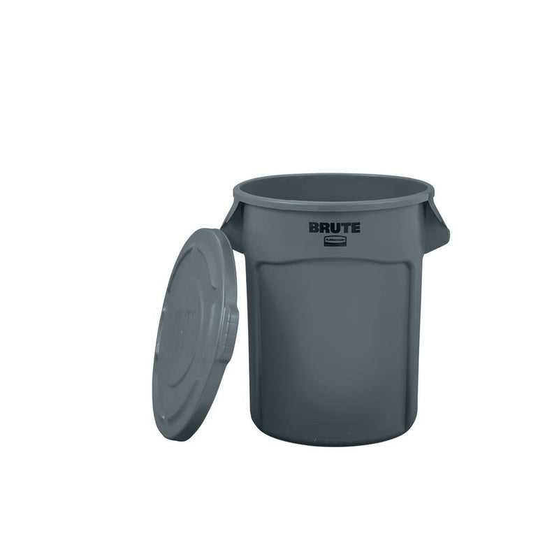 Brute 20 Gal. Grey Round Trash Can with Lid - mbrbproducts