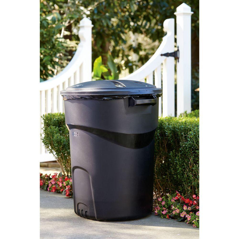 Roughneck 32 Gal. Black Round Trash Can with Lid - mbrbproducts