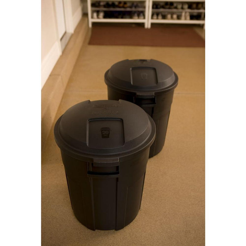 Roughneck 20 Gal. Black Round Trash Can with Lid - mbrbproducts