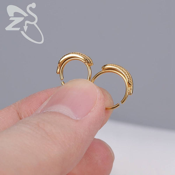 ZS 1 Pcs Punk Feather Gold Nose Rings for Men Women Stainless Steel Septum Rings Earrings 2020 - mbrbproducts