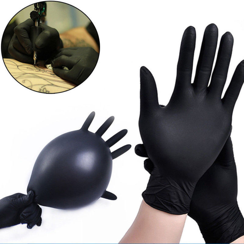 Rubber Comfortable Disposable Mechanic Nitrile Gloves Medical Exam Black - mbrbproducts