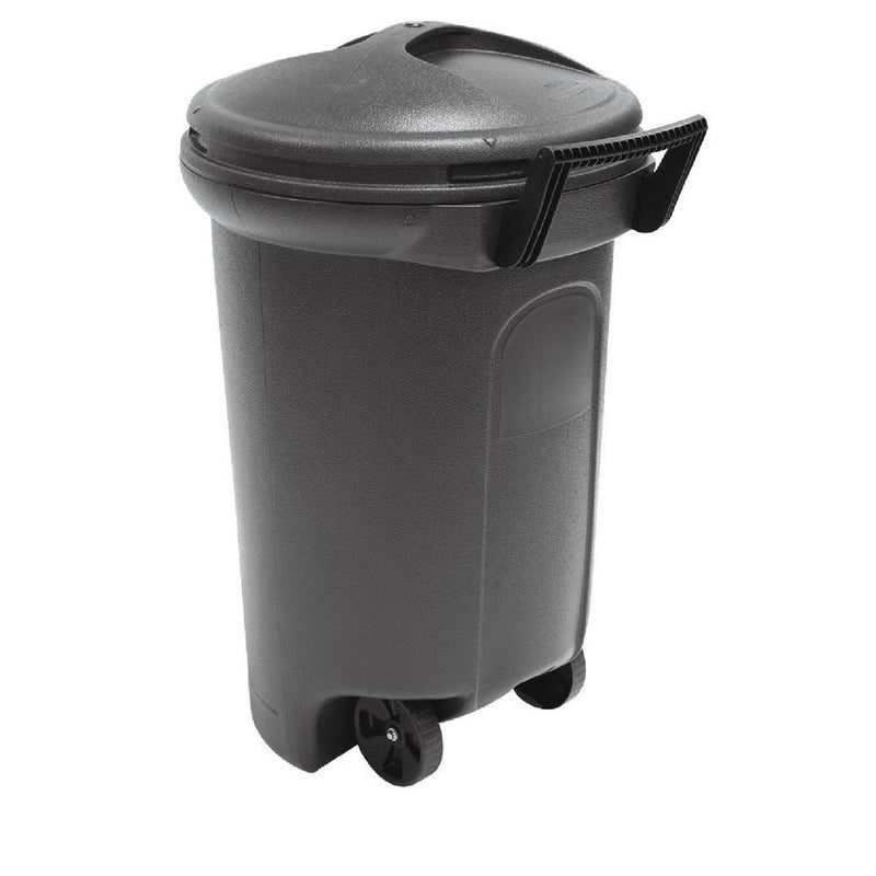 32 Gal. Wheeled Blow Molded Outdoor Trash Can in Black - mbrbproducts