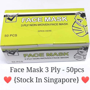 Face Mask 3 Ply - 50pcs {Stock In Singapore} Picasaf Brand