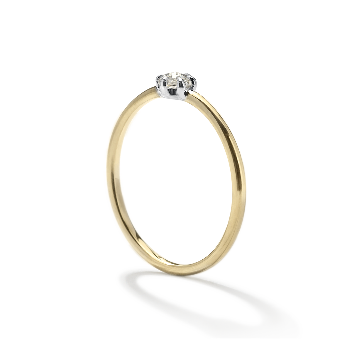 Two tone white and yellow gold ring