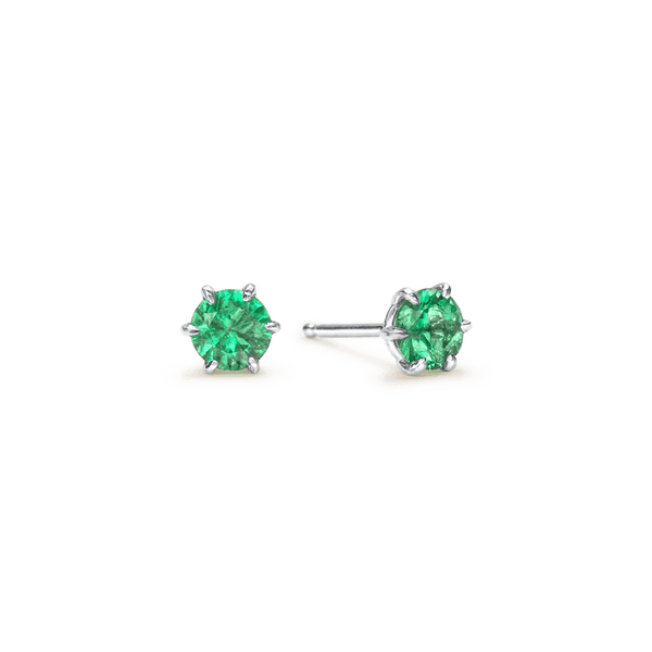 14K White Gold Round Emerald Stud