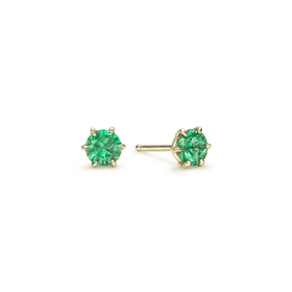 14K Yellow Gold Round Emerald Stud