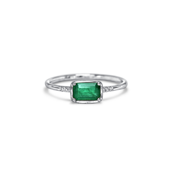 14K White Gold East West Emerald Diamond Ring