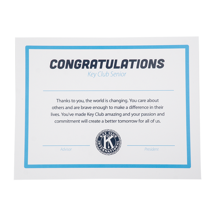 Key Club Graduation Certificate - Pack of 10