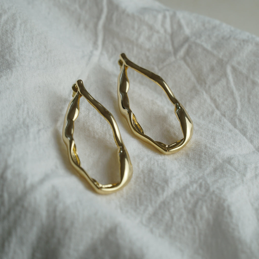 Golden Lava Drop Earrings