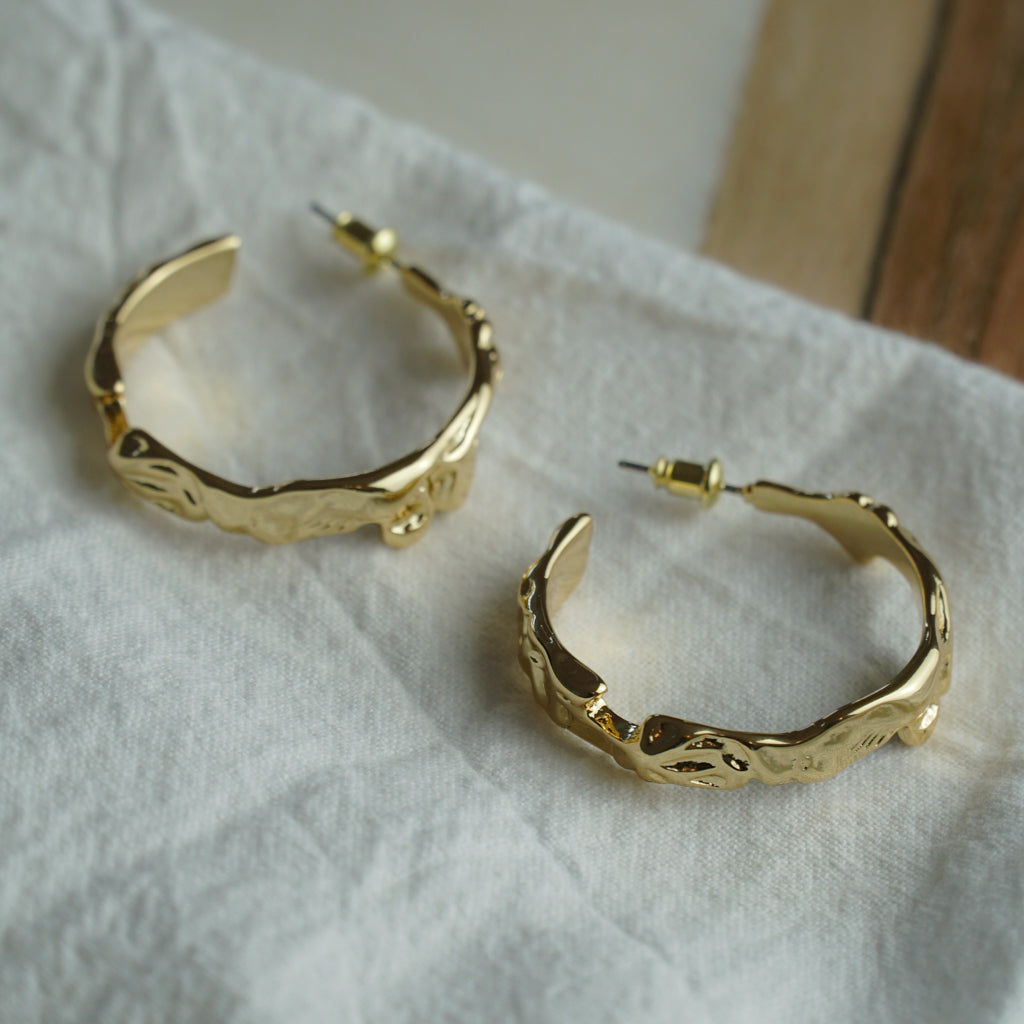 Golden Lava Tubes Earrings
