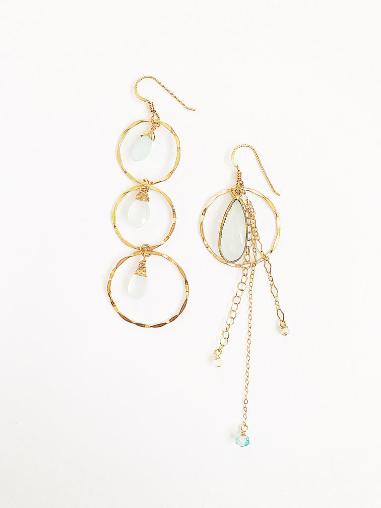 Asymmetric Chalcedony earrings