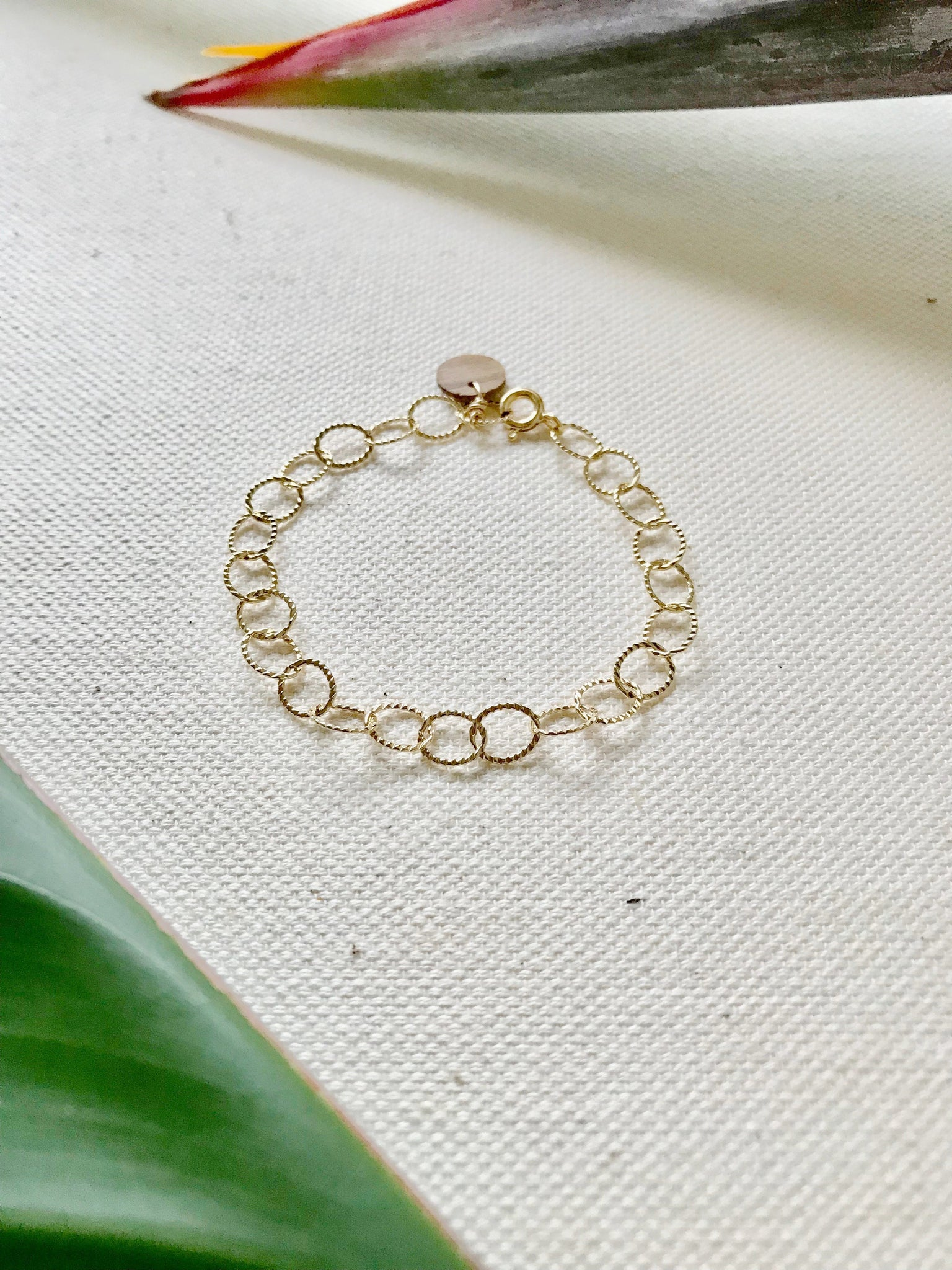 Textured Oval Be Gold Bracelet/Anklet