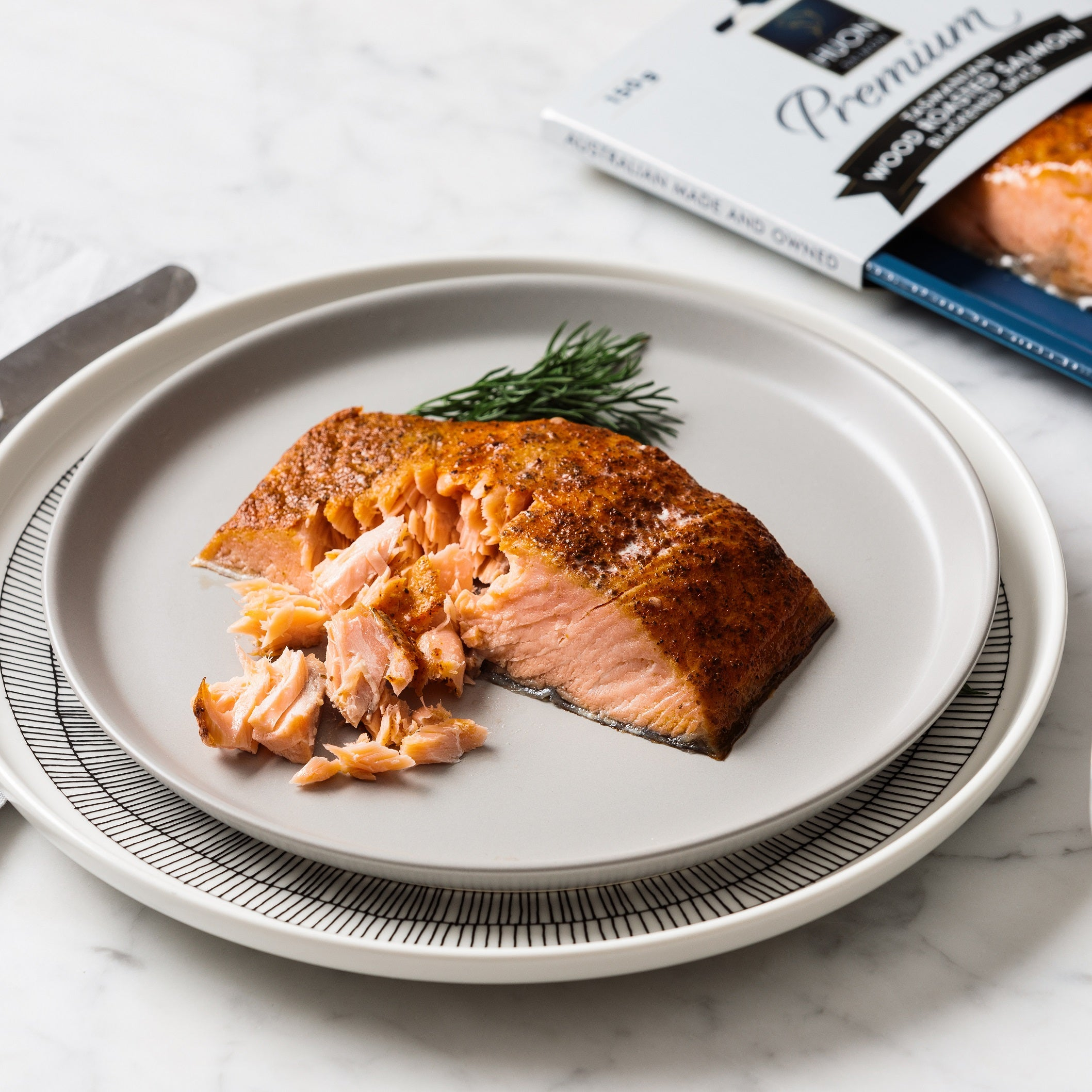 Premium Blackened Spice Wood Roasted Salmon