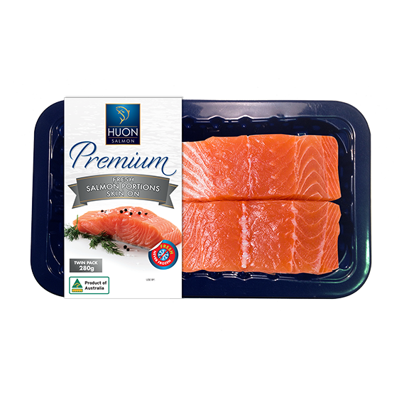 Premium Fresh Huon Salmon Portions 2 Pack - Skin On