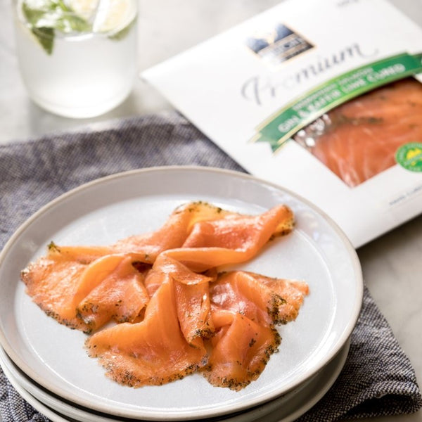 Premium Gin & Kaffir Lime Cured Salmon
