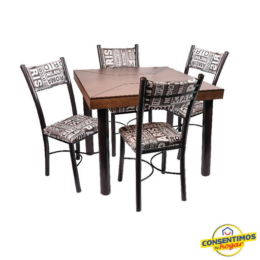 Antecomedor Marruecos-chocolate tubular 4 sillas