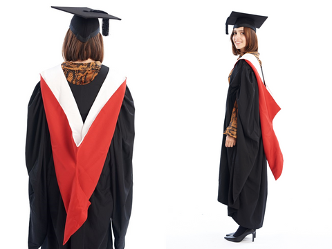A Cardiff University graduate wearing a mortarboard, gown and bachelors hood