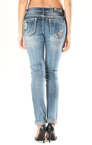Grace in LA  Patchwork Detail Jeans- JNW51036