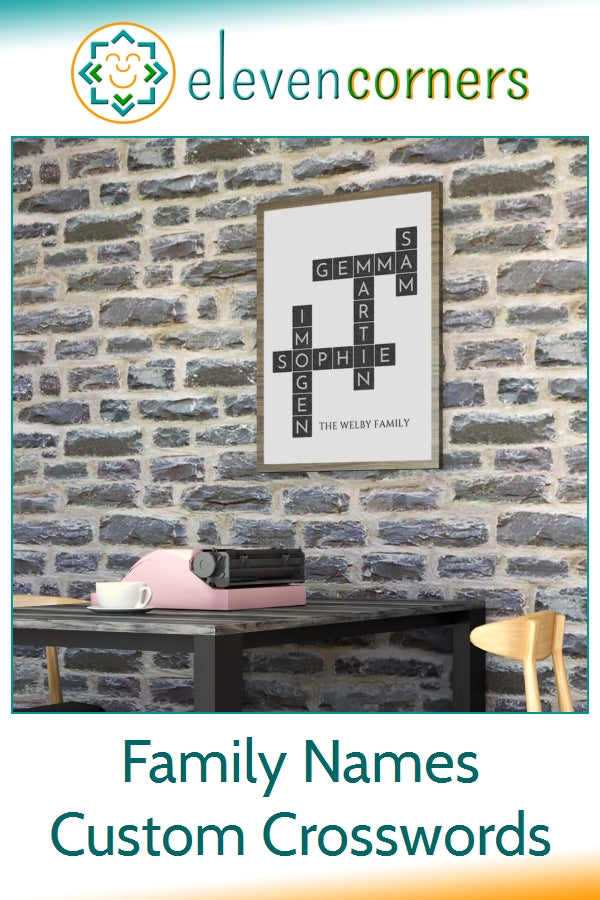 family names custom crossword wall art