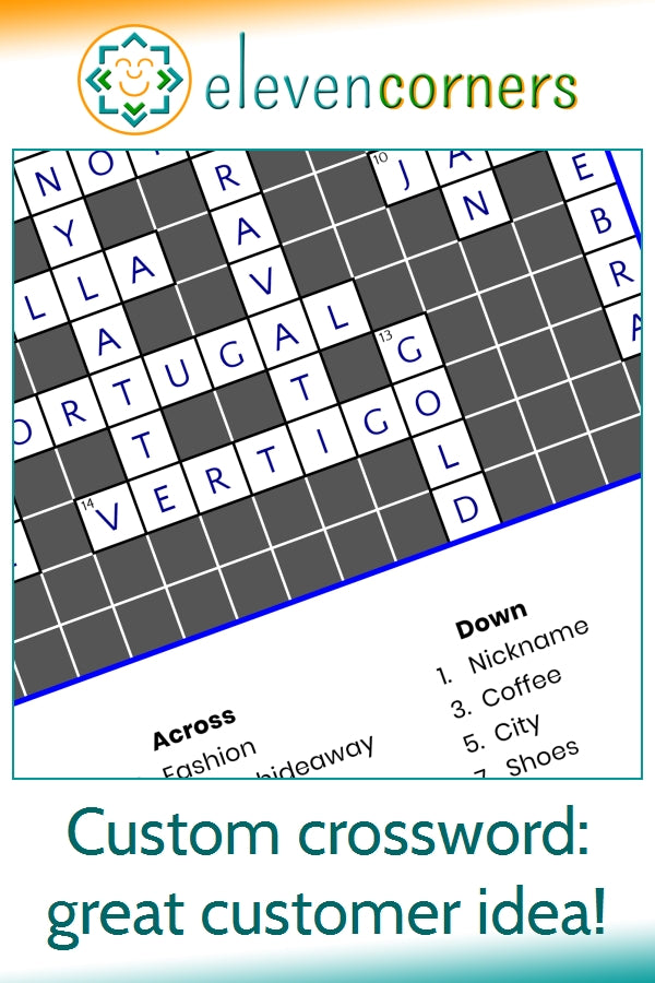 custom crossword puzzle print - crossword for a location - custom idea