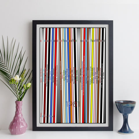 personalised year of music record collection print