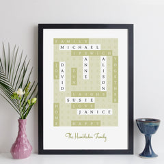Personalised family wordsearch prints