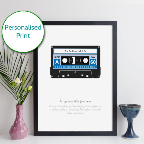 Personalised Cassette Tape Print with optional Spotify Code