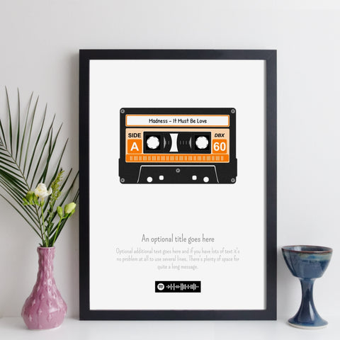 Personalised Cassette Tape Print with Spotify Code