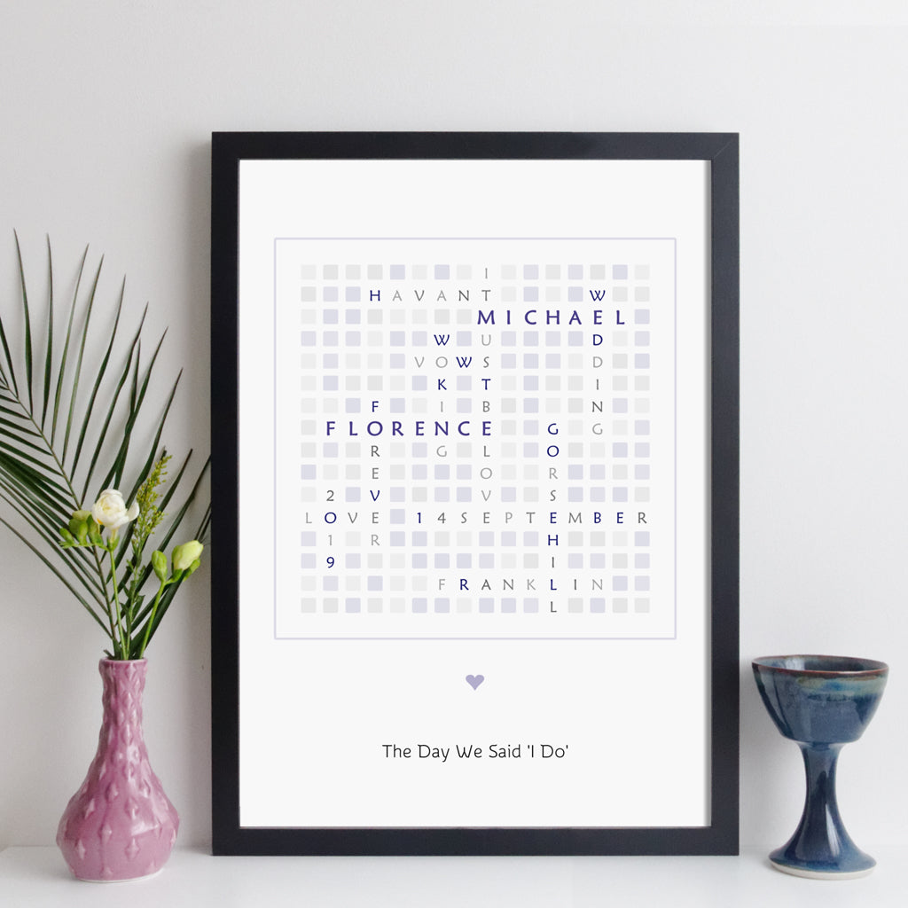 Personalised Wedding Crossword Print - modern style