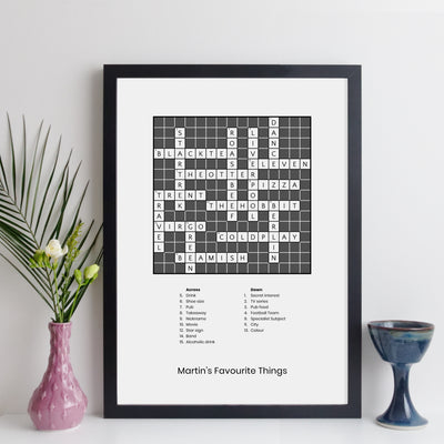 Personalised Traditional Crossword Print With Clues