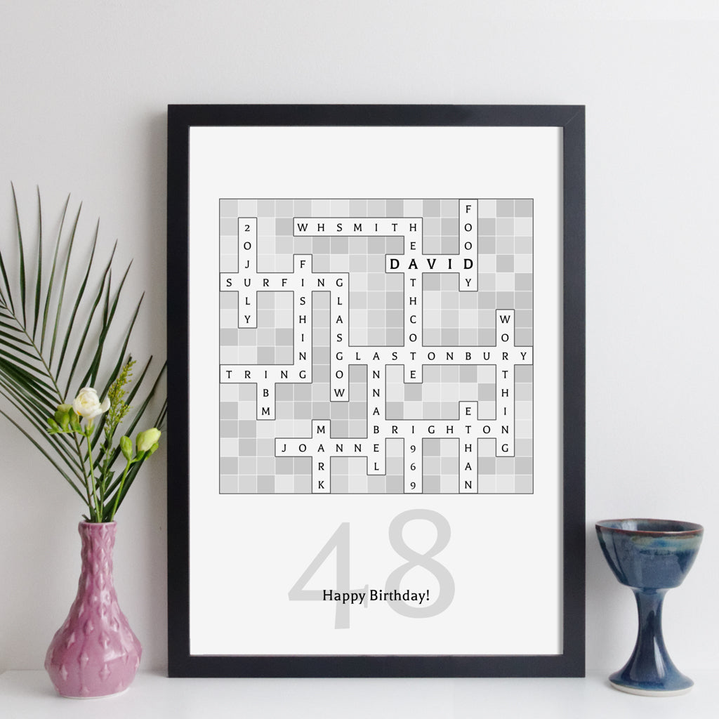 Personalised Birthday Crossword Print - modern style
