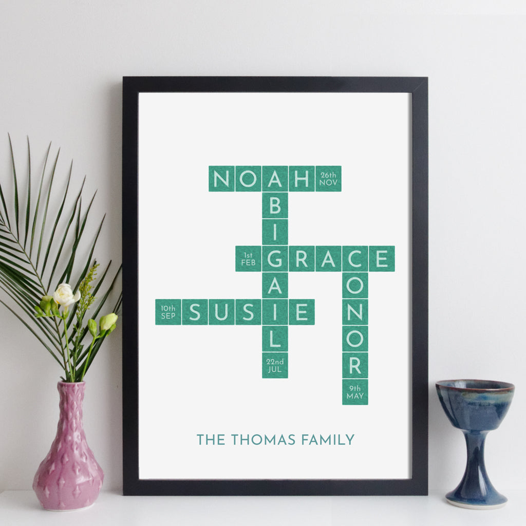 Personalised Family Art Crossword Print With Birthdays