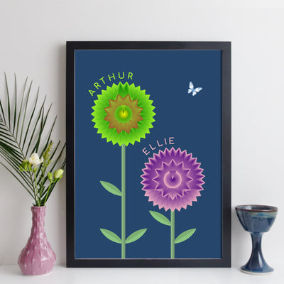 Personalised Couples Flowers Print