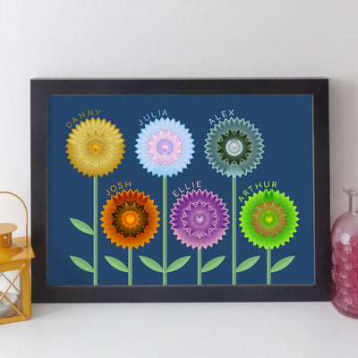 Personalised Family Flowers Print