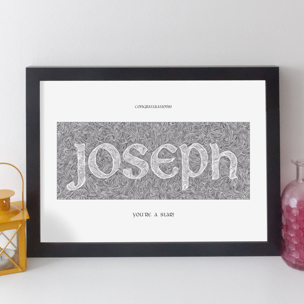 Personalised Name Print - Contemporary Antique