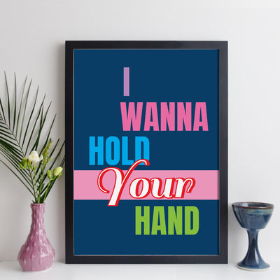 I Wanna Hold Your Hand personalised song print