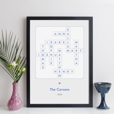 Personalised Family Crossword Print – contemporary style