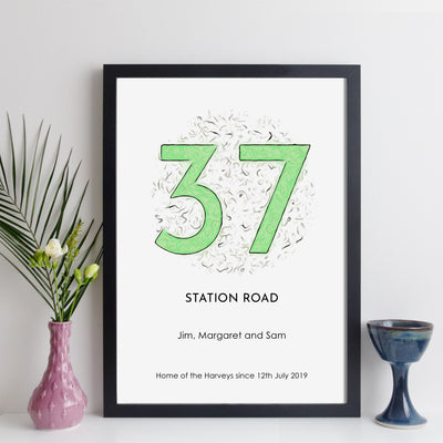Personalised House Number Print (classic style)