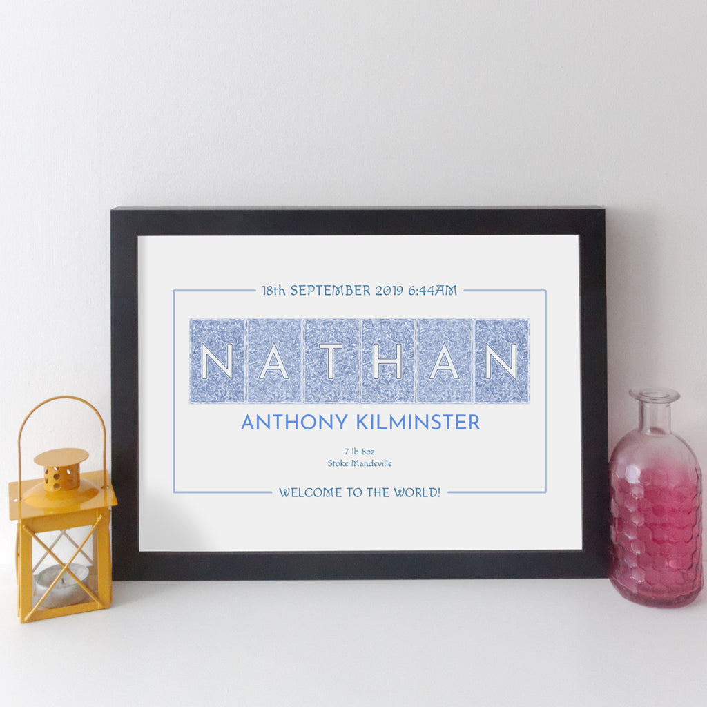 Personalised Baby Name Print (dark text style)
