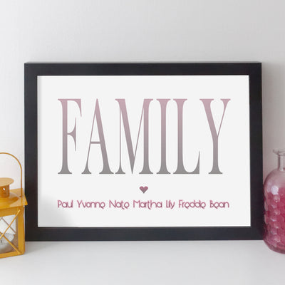 Personalised Family Name Print - contemporary style