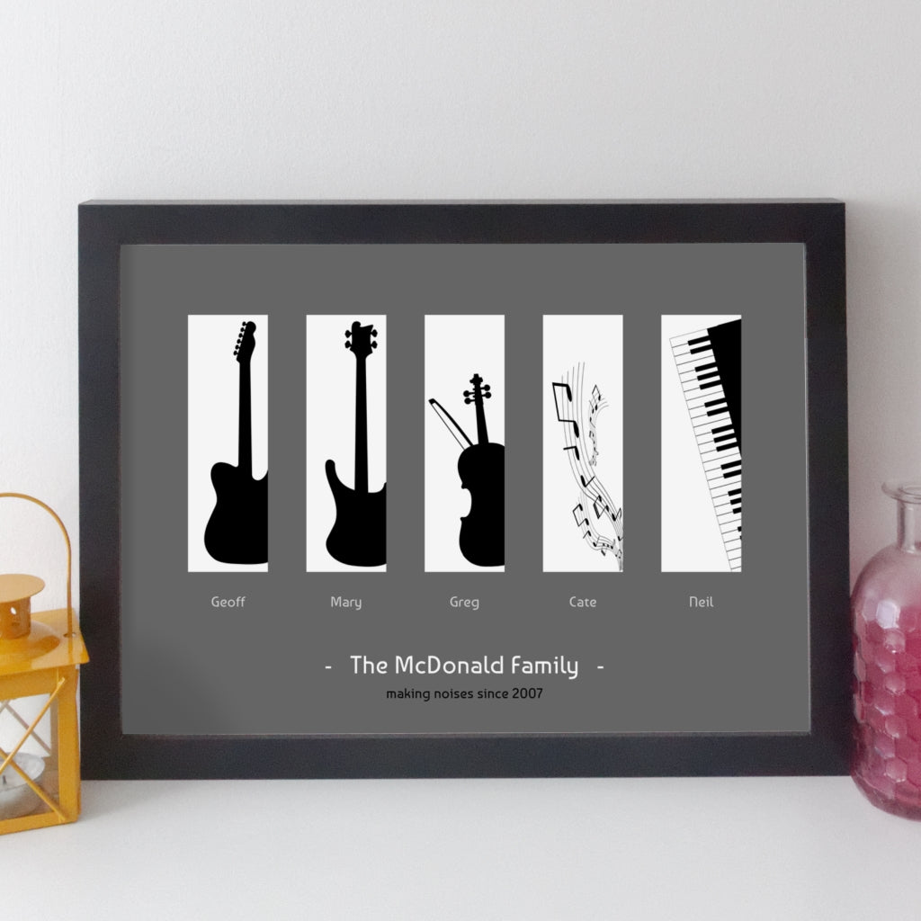 Personalised Family Music Print - contemporary black on white