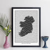 Personalised Ireland Map Print (Grid Style)