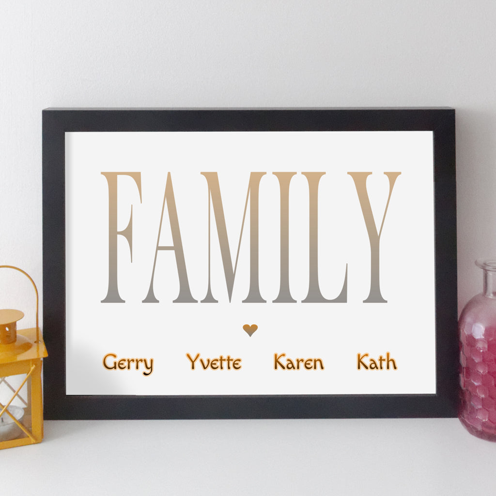 Personalised Family Name Print - classic style