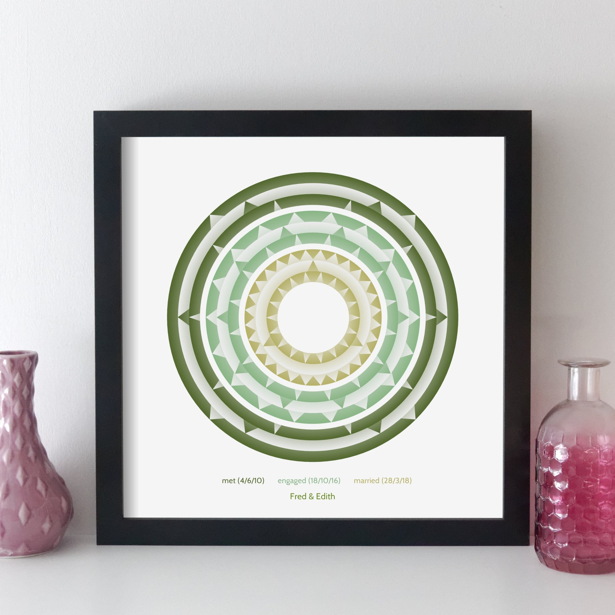 Personalised Memorable Date Wall Art - Geometric Art